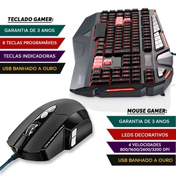 Kit Game Warrior Teclado + Mouse 06 Botões