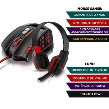 Kit Head Fone Gamer Warrior + Mouse 16 Botões Profissional