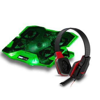 Kit Head Fone Gamer Warrior + Power Cooler Base Notebook