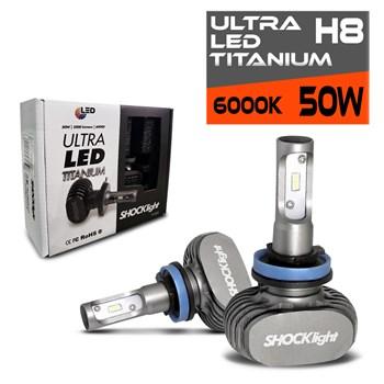 Kit Lampada Ultra Led 6000k Titanium Shocklight H8 10000 Lumens