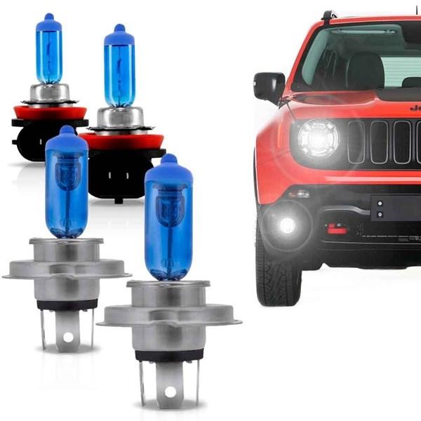 Kit Lâmpadas Super Brancas Jeep Renegade H4 + H11 Tech One