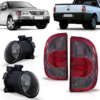 Kit Lanterna com Milha Volkswagen Saveiro G4 2006 A 2011 Fumê