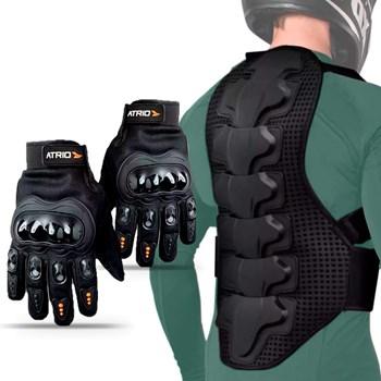 Kit Luva Blackout + Protetor Coluna Cervical Moto Multilaser