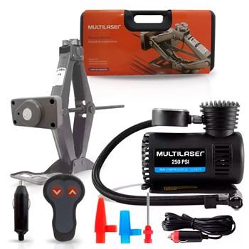 Kit Macaco Elétrico 12v + Mini Compressor Ar Multilaser