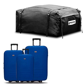 Kit Malas Viagem Azul + Maleiro Bag Dobrável Para Teto