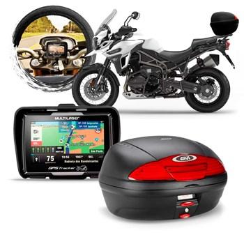Kit Moto Viagem Gps Multilaser + Baú 45 Litros Givi