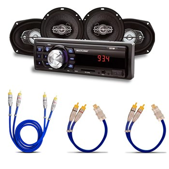 """KIT MP3 + 4 ALTO FALANTES 2 DE 6"""" / 2 6X9"""" + 1 CABO RCA 1 METRO + 2 CABOS Y"""