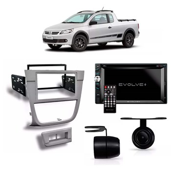 Kit Multimídia Evolve + /câmera Ré/ Moldura 2din Saveiro