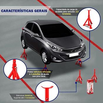 Kit Par Cavalete Automotivo 2 Toneladas + Macaco Hidráulico 2 Toneladas