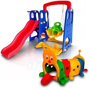KIT PLAYGROUND INFANTIL 3X1 BRINQUEDÃO + TÚNEL CENTOPÉIA