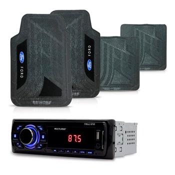 KIT RADIO MP3 NEW ONE MULTILASER + TAPETE PVC UNIVERSAL FORD