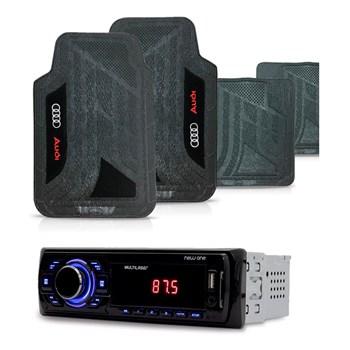 KIT RADIO MP3 NEW ONE MULTILASER + TAPETE UNIVERSAL PVC AUDI