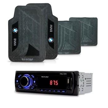 KIT RADIO MP3 NEW ONE MULTILASER + TAPETE UNIVERSAL PVC BMW