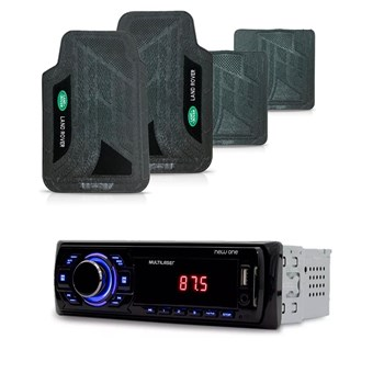 KIT RADIO MP3 NEW ONE USB MULTILASER + TAPETE PVC LAND ROVER