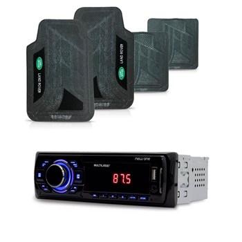 KIT RADIO MP3 NEW ONE USB MULTILASER + TAPETE PVC LAND ROVER
