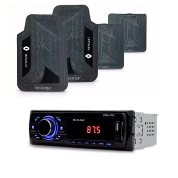 KIT RADIO MP3 NEW ONE USB MULTILASER + TAPETE PVC RENAULT