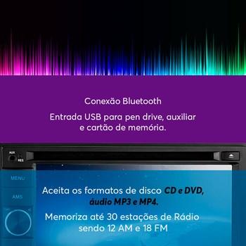 KIT RADIO MP5 ROCK 4 BLUETOOTH USB COM CONTA GIROS PRETO