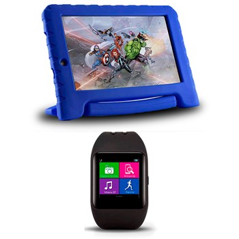 Kit Smartwatch Relógio Bluetooth + Tablet Disney Vingadores