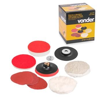 Kit Suporte E Discos Para Lixar E Polir 4-1/2 Pol. Vonder