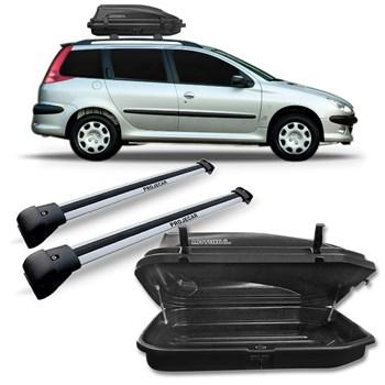Kit Travessa Peugeot 206 Sw Aluminio Prata + Maleiro 270