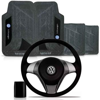Kit Volante Actrative Cubo Vw + Tapete Pvc Com Carpete