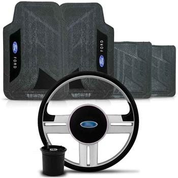 Kit Volante Rallye Cubo Ford + Tapete Pvc com Carpete