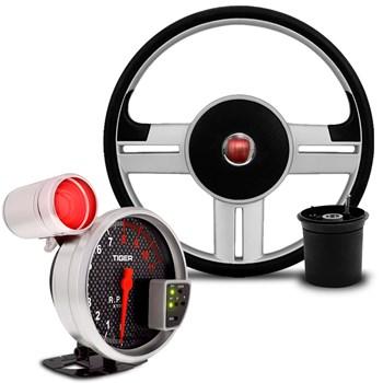 Kit Volante Rallye Uno Elba Premio + Velocimetro Carbono