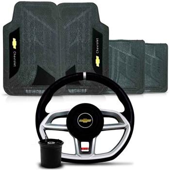 Kit Volante Vision Cubo Chevrolet + Tapete Pvc com Carpete