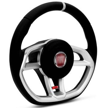 Kit Volante Vision Cubo Fiat + Tapete Pvc Com Carpete