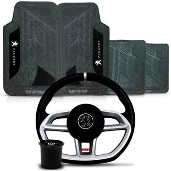 Kit Volante Vision Cubo Peugeot + Tapete Pvc Com Carpete
