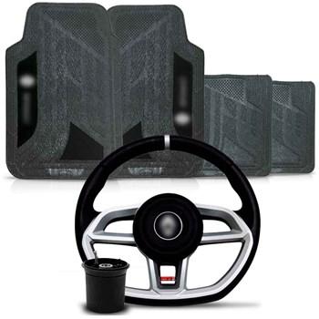 Kit Volante Vision Cubo Renault + Tapete Pvc com Carpete