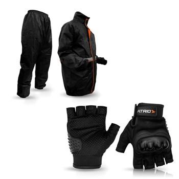 Luva Moto Com Proteção + Capa Chuva Atrio G