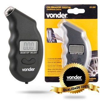 Medidor Digital Pressão Para Pneus Calibrador Cd-500 Vonder
