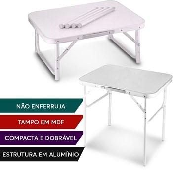 Mesa Dobravel Aluminio 90 X 60cm Vira Maleta