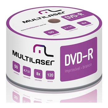 Midia Dvd-r Vel. 08x - 50 Un. Shrink Imprimivel Branco<BR>