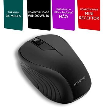 Mouse Sem Fio Multilaser 1200DPI Usb Nano 2.4ghz Preto - MO212