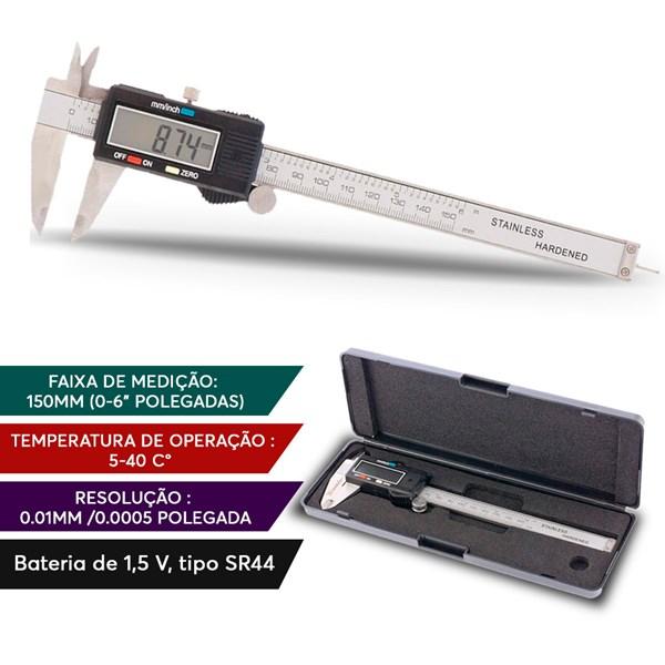 Paquímetro Digital Aço Inox 150mm 6 Polegadas Com Estojo