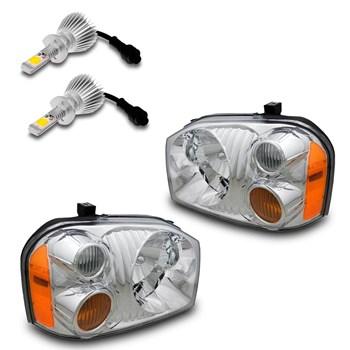PAR FAROL NISSAN FRONTIER 2003 A 2007 CROMADO + LAMPADAS LED