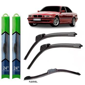 PAR PALHETA LIMPADOR PARA-BRISA BMW SERIE 7 (E38) 1994 1995 1996 1997 1998 1999 2000 2001 SOFT SILICONE