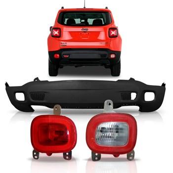 Parachoque Jeep Renegade Traseiro + Par Lanterna Parachoque