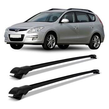 Rack Teto Travessa Hyundai I30 Cw 2007 2008 2009 2010 2011 2012 Slim Alumínio Preto
