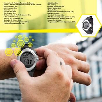 Relógio Esportivo Touch Monitor Cardíaco Preto E Cinza Es094