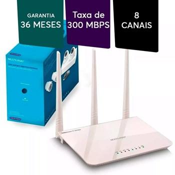 Roteador Wifi Wireles Sem Fio Multilaser 300mbps 3 Antenas Branco