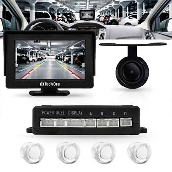 Sensor Estacionamento Com Tela Monitor Câmera Ré Cor Branco