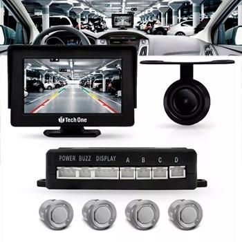 Sensor Estacionamento Com Tela Monitor e Câmera Ré Prata