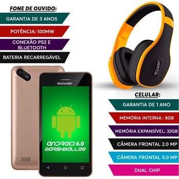 Smatphone Dual Chip 8gb Camera 5mp + Fone Bluetooth Amarelo