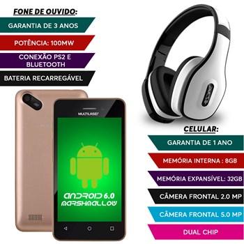Smatphone Dual Chip 8gb Camera 5mp + Fone Bluetooth Branco