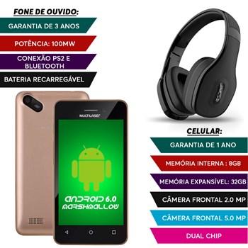 Smatphone Dual Chip 8gb Camera 5mp + Fone Bluetooth Preto