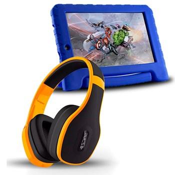 Tablet Infantil Vingadores 8gb + Fone Bluetooth Amarelo