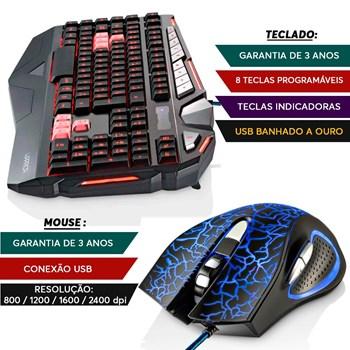 Teclado Gamer Warrior + Mouse 06 Botões Led 2.400 Dpi